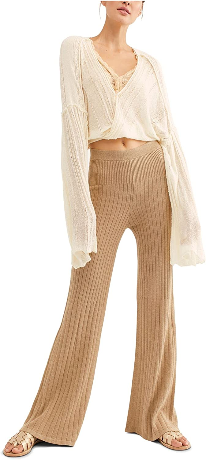 Free People Women's Keep It Real Flare Ribbed Knit Pants in Camel Heather (X-Small)