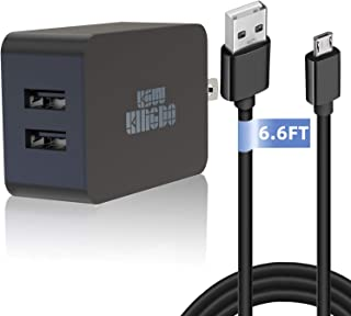 "Kindle Fire Fast Charger, 5V 2.4A 24W Charger for Amazon Kindle Fire HD, HDX 6"" 7"" 8.9"" 9.7"", Fire 7 8, Dual Port USB Wall Charger with 6.6FT Micro USB Cable for Samsung, Galaxy S7, Android Phone"
