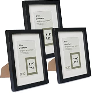 Q.Hou 6x8 Black Picture Photo Frame with Mat, Mount for 4x6 Picture or 6x8 Picture Without Mat, 3 Packs, Real Glass Front ...