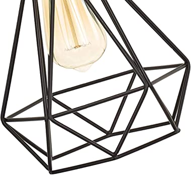 Riomasee Industrial Plug in Pendant Lighting 14.27 Ft Hanging Light Cord with On/Off Switch,Vintage Wire Cage Black Metal Hanging Lamp