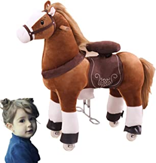 DUTUI Stuffed Trojan Horse, Vaulting Horse, Children's Toy, Medium Trojan Rocking Horse, Birthday Gift, 90X85x30