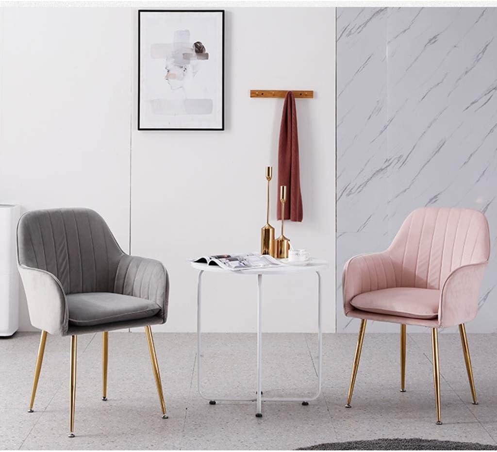 LSRRYD Chaises Velours Scandinaves Chaises Salle Manger En Tissu Velours, Chaises Cuisine Solide Avec Des Pieds En Métal (Color : Purple-A) Pink-b