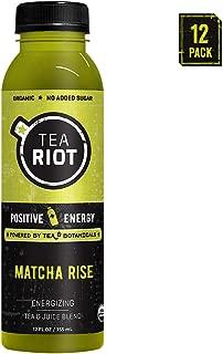 teaRIOT Energy Tea   Organic Energy + plant powered, Matcha Rise, no added sugar, vegan, afternoon energy, caffeine, L-theanine, hydration, antioxidants, 12 fl OZ (Matcha Rise 12 pack)