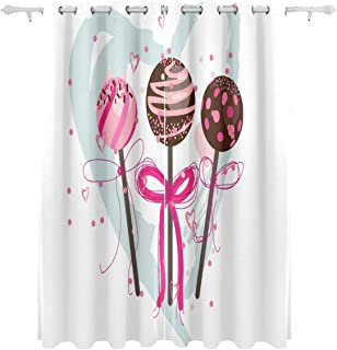Beautiful Lollipop Pink Decorative Hanging 2 Panel Set Printed Blackout Window Curtains for Bedroom Living Room Dining Roo...