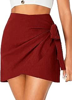 WDIRARA - Falda con Nudo en la Rodilla para Mujer, Burgundy, XL