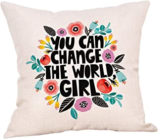 Ogiselestyle You can Change The World Girl Motivational Sign Cotton Linen Home Decorative Spring Floral Throw Pillow Case Cushion Cover for Sofa Couch, 18 x 18