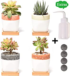 Ceramic Planters, Small Succulent Planter with Drainage/Saucers, 2.5 Inch Flower Pot, Set of 4 Pots for Plants