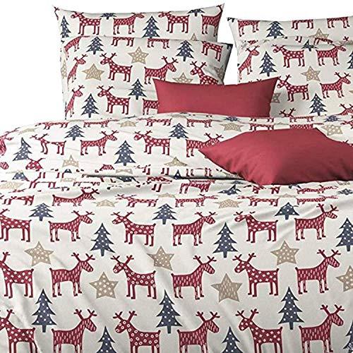 Aminata-Home edle Biber-Bettwäsche Elch-Motiv mit Stern Weihnachten 135x200 cm + 80x80 cm aus Baumwolle mit Reißverschluss, mit Hirsch-Motiv ist weich und kuschelig, rot, weiß grün, Winter-Motiv