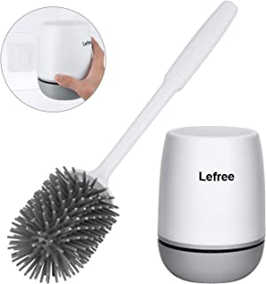 Lefree Silicone Toilet Brush and Holder, Bathroom Toilet Bowl Cleaner Brush Set,Non-Slip Handle with TPR Soft Bristle,Wall Mounted / Floor Standing (White-Grey)