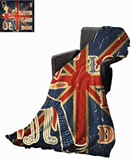 British Fashion Throw Blanket,Love London Quote with English Man on UK Flag Backdrop National Design Fleece Blanket for Couch Bed Living Room (62