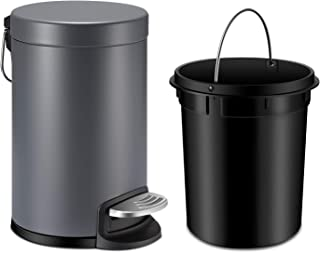 YCTEC Mini Trash Can with Lid Soft Close, Round Step Bathroom Trash Can with Removable Plastic Inner Wastebasket and Stainless Steel Foot Pedal, Anti-Fingerprint Office Trash Can, 0.8Gal/3L, Gray