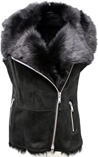 Women's Luxurious Short Black Suede Toscana Fur Sheepskin Gilet