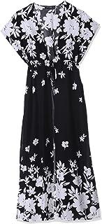 Andiamo Fashion Viscose Floral Pattern Drawstring Short Sleeves Kimono for Women - Black and White, S