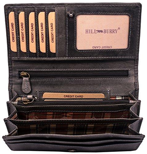 Hill Burry hochwertige Geldbörse   aus weichem Vintage Leder - Langes Portemonnaie - Kreditkartenetui - RFID (Grau)