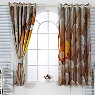 FreeKite Ocean Blackout Curtains for Bedroom Clown Fish Swimming in Tentacles in Pacific Ocean Bali Indonesia Marine Wildlife Thermal Insulated Soundproof Curtain W96 x L107 Inch Beige Orange