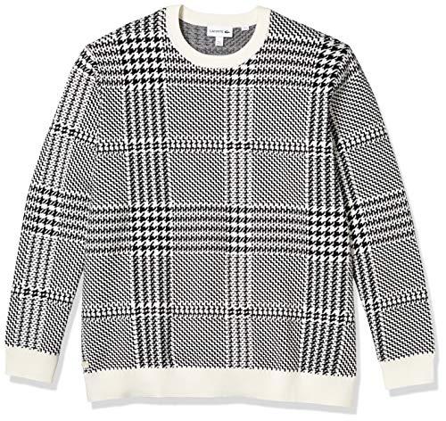 Lacoste Men's Jacquard Cashmere Blend Classic Sweater, Flour/Black, XL