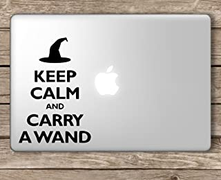 Keep Calm and Carry a Wand Harry Potter-Apple MacBook Laptop Vinyl Sticker Decal, Die Cut Vinyl Decal for Windows, Cars, Trucks, Tool Boxes, laptops, MacBook - virtually Any Hard, Smooth Surface