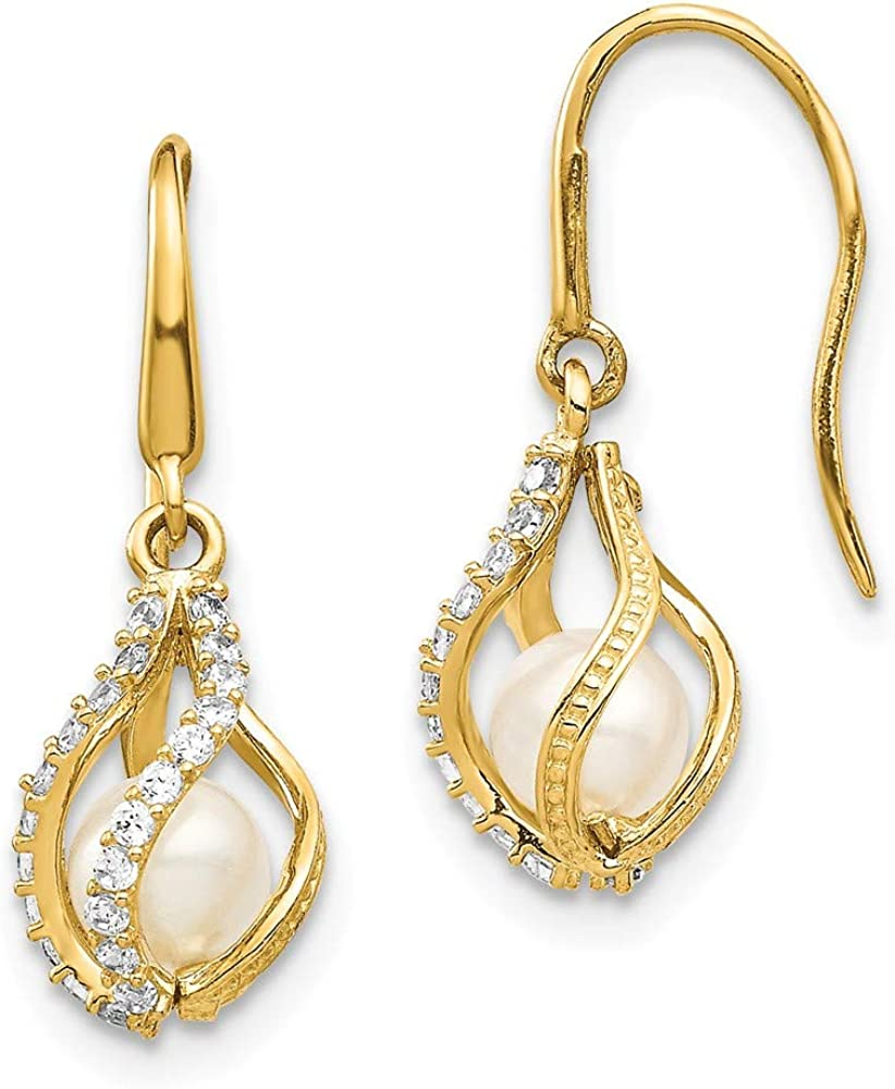 14k Yellow Gold White Freshwater Cultured Pearl Cubic Zirconia Cz Cage Drop Dangle Chandelier Earrings Fine Jewelry For Women Gifts For Her
