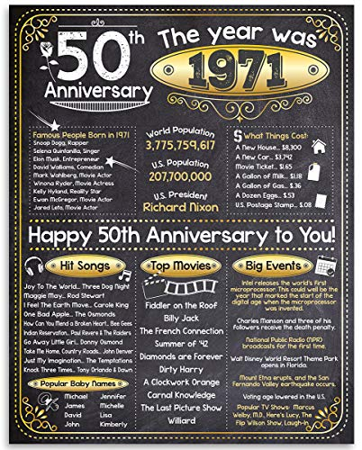 Happy 50th Anniversary (Fifty, 50) - Year 1971-11x14 Unframed Poster -...