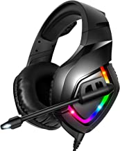 RUNMUS Gaming Headset PS4 Headset with 7.1 Surround Sound, Xbox One Headset with Noise Canceling Mic & RGB Light, Compatible w/ PS4, Xbox One(Adapter Not Included), PC, Laptop, NS, PS2