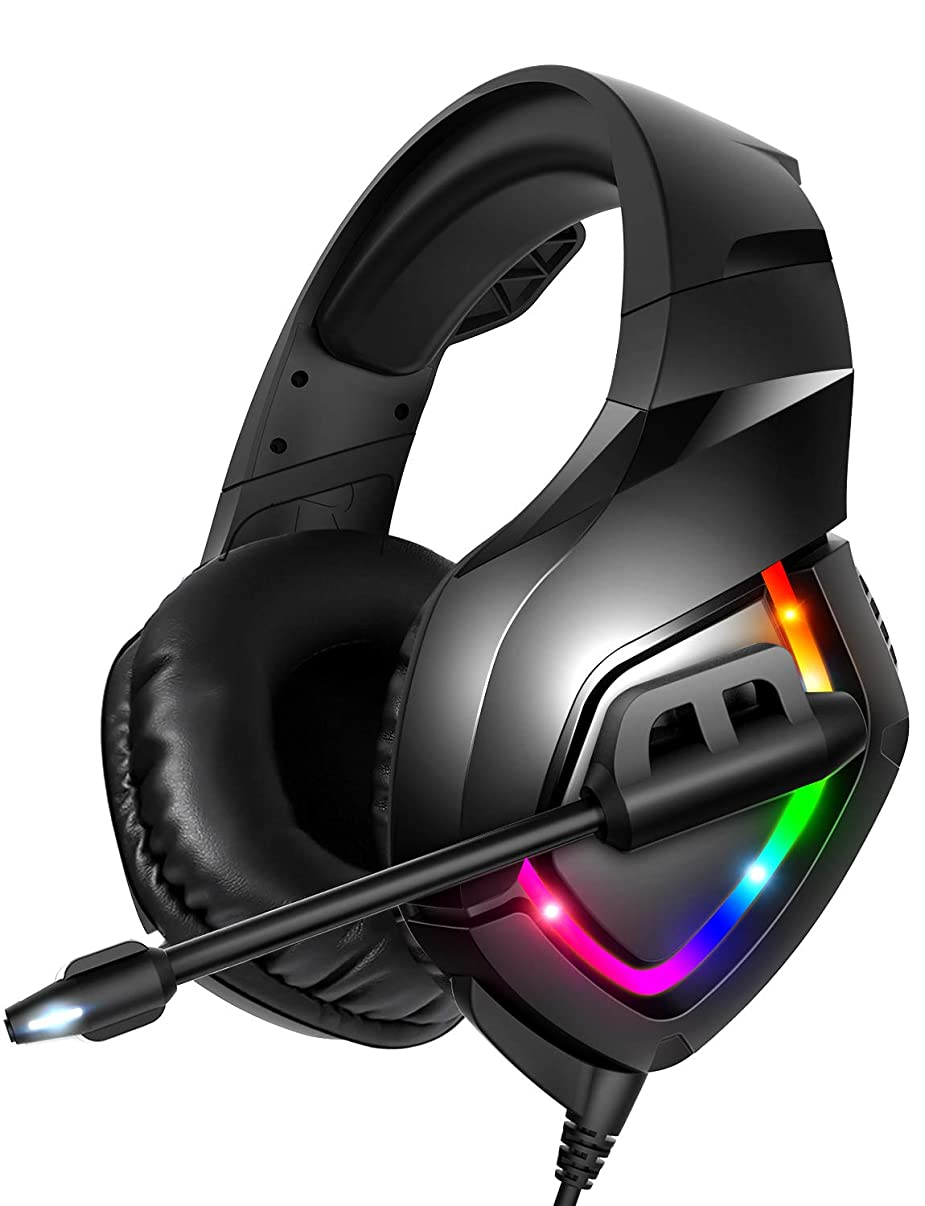 RUNMUS Gaming Headset PS4 Headset with 7.1 Surround Sound, Xbox One Headset with Noise Canceling Mic & RGB Light, Compatible w/ PS4, Xbox One(Adapter Not Included), PC, Laptop, NS, Sega Genesis