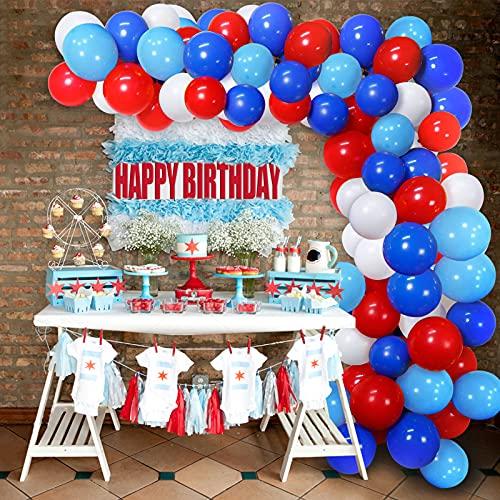 Ballon Rouge Blanc Bleu Guirlande de Ballon Kit Arche de Ballon avec 16ft Ballon Stripe Tape Kit 2 Outil pour Soirée sur le thème des super-héros Anniversaire De Mariage Toile De Fond Décorations