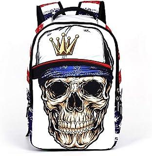 Travel Laptop Backpack Cartoon Skull School Bag for Teens Boys Bookbag Daypack