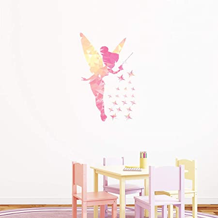 Stickers adhésifs Enfants   Sticker Autocollant Origami la fée et ses étoiles brillantes - Décoration murale chambre enfants   85 x 55 cm