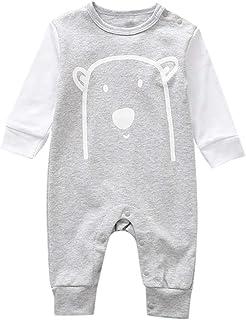 Ropa Bebe Primavera Body de Manga Larga para Bebe Trajes Ropa Mono Niño Disfraz de Dibujos Animados Pijama Blanco 0-18 Meses Unisexo Mameluco 2019 POLP