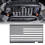 Xprite Aluminum Alloy Grill Insert Mesh with Black & White America U.S Flag for 2007-2018 Jeep Wrangler JK Stock Grille