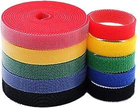 KELIFANG Alças de cabo, abraçadeiras reutilizáveis, organizador de fita de fixação de nylon e gancho, gestão de cabos, sup...