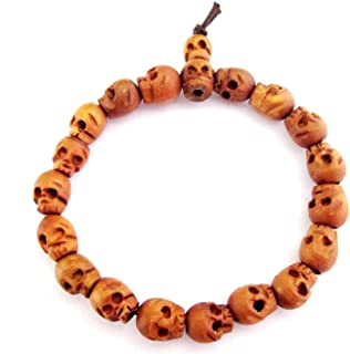 OVALBUY Wood Skull Beads Buddhist Prayer Wrist Mala Bracelet