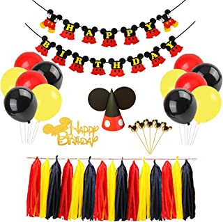 Mickey Mouse Happy Birthday Banner Decorations Kit, Mickey Mouse Banner Cupcake Cake Topper Hat for
