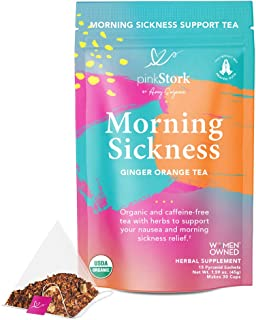 Pink Stork Morning Sickness Tea: Ginger Orange Pregnancy Nausea Morning Sickness Relief Tea, 100% Organic, Supports Digestion + Hydration During Pregnancy, Women-Owned, 30 Cups