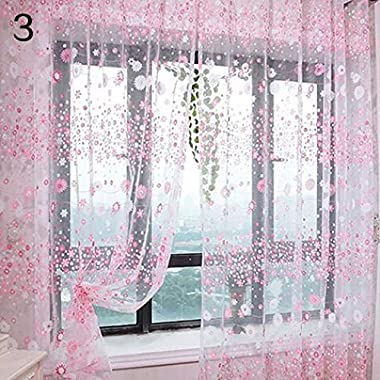 Pastoral Floral Voile Window Door Curtain Balcony Valances Drape Panel Sheer - Pink Ameesi