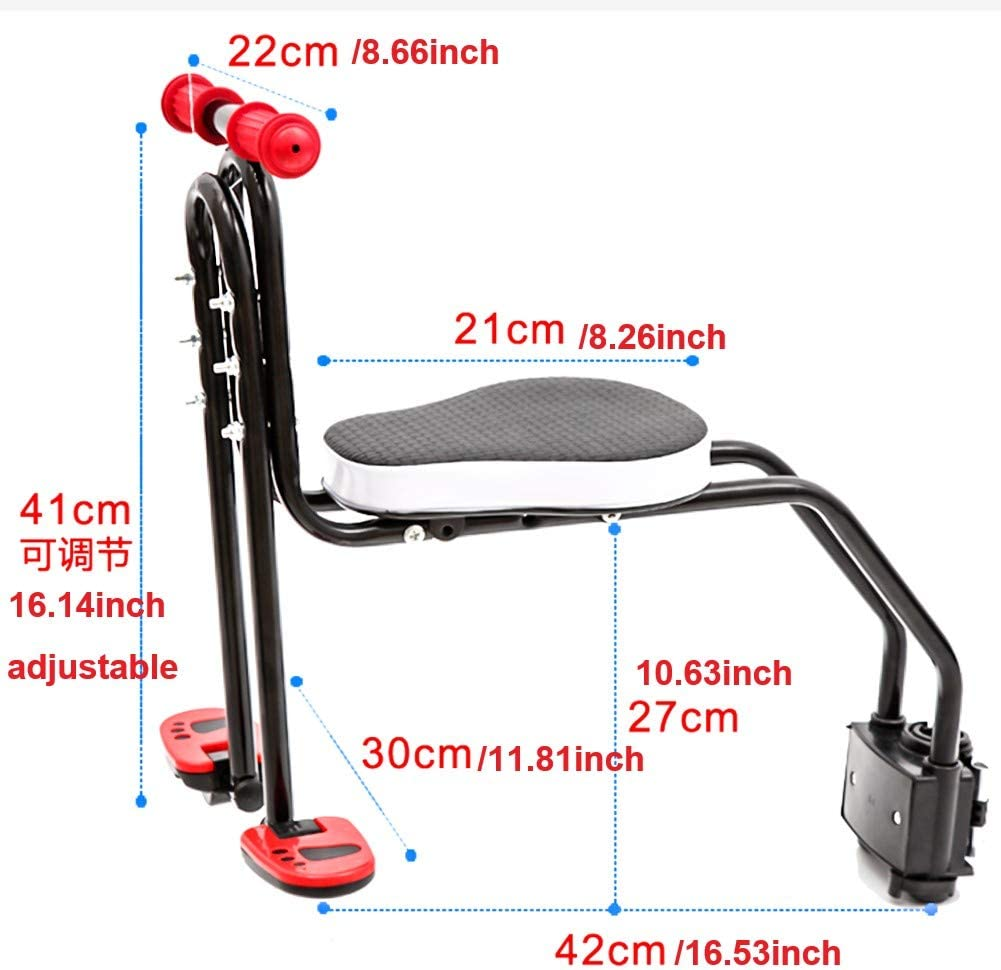 YSONG Children's Bicycle seat, Fast-Moving Front-Mounted Baby Carrier/Baby Chair, Adjustable Child Safety seat for Children 2.5-6 Years Old (up to 110 pounds)