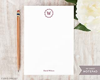 REFINED MONOGRAM NOTEPAD - Personalized Formal Traditional Laurel Wreath Wedding Couple Work Stationery - Stationary Note Pad
