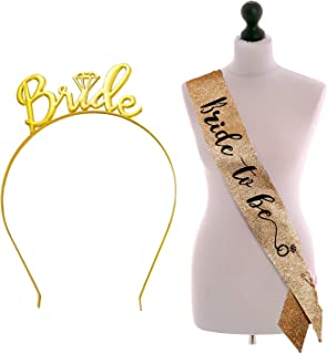 Party Propz Bride To Be Glitter Sash With Hairband For Bride To Be Or Bachelorette Parties