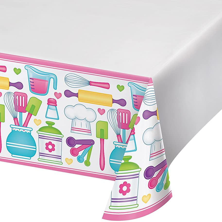 Creative Converting Border Print Plastic Tablecover, Little Chef - 324650