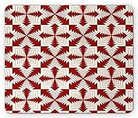 """8"""" X 10""""抽象的なマウスパッド、反復的な絡み合ったフレームファンキーなスタイルのモダンなレトロパターンのアートプリント、長方形の滑り止めのゴム製マウスパッド、標準サイズ、朱色とアイボリー"""