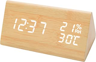 JCHORNOR Digital Alarm Clock, Led Time Display Wooden Digital Desk Clock with 6 Levels Adjustable Brightness, Temperature ...