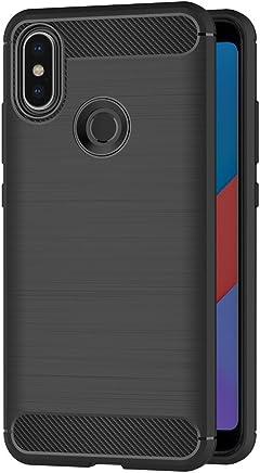 AICEK Funda Xiaomi Mi A2, Negro Silicona Fundas para Xiaomi Mi A2 Carcasa Xiaomi Mi A2 Fibra de Carbono Funda Case (5,99 Pulgadas)