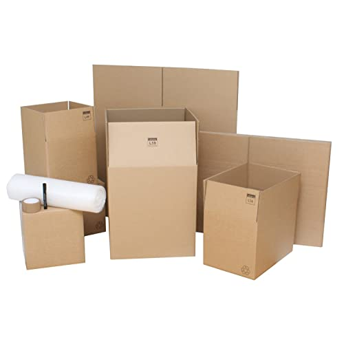 """Moving Boxes - Pack of 10 Strong Double Wall Lightning Branded Cardboard House Packing Cartons Ideal For 1 Bed Flat Removal Packaging With 7.5m Bubble Wrap, 1 x Free Roll Packing Tape & 1 Free Marker Pen For Labelling. 3 x Small Moving Packing Boxes 12""""x12""""x12"""", 5 x Standard Moving House Boxes 18""""x12""""x12"""" & 2 x Large Removal Boxes 18""""x18""""x20"""". Reusable & Recyclable Moving Cardboard Boxes Supplied Flatpacked & Easily Stored. Economical Home Removal Kit With Top Quality Moving Packing Boxes."""