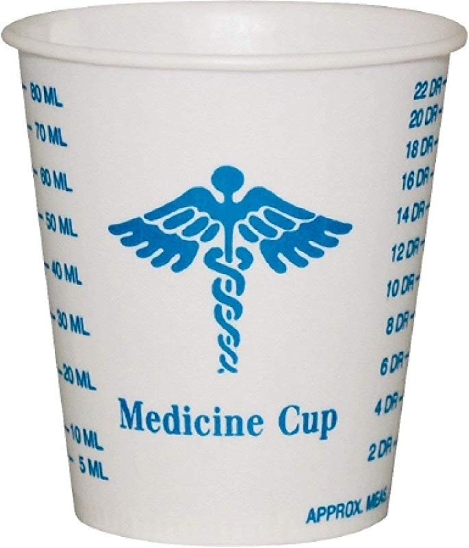 Disposable 3 Oz Waxed Mixing Medicine Cups Box Of 100 White