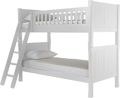 ASPACE Cadre de lit superposé en Bois d'hévéa Massif et Composite Sommier à Lattes en contreplaqué Blanc Soie