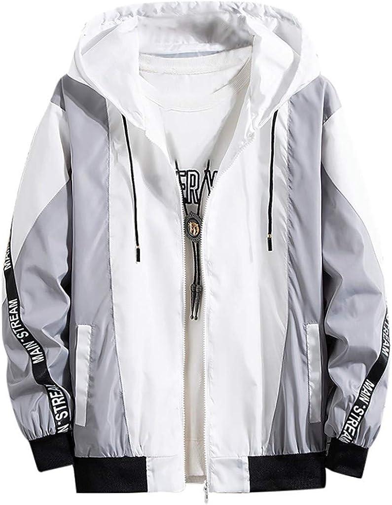 FORUU Men's Autumn Loose Fit Casual Fashion Color Collision Hoodie Thin Plus Size Jacket Zipper Coat
