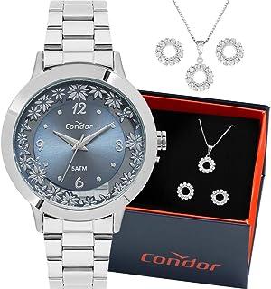 Kit Relógio Condor Feminino Prata Com Colar e Brincos Co2039bg/k3a Analógico 5 Atm Tamanho Grande