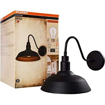 Sylvania 60062 Easton Sconce Light Vintage Fixture, LED, Flush Mount, Dimmable Bulb Included, Antique Black
