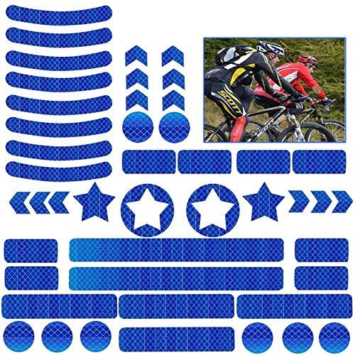 JIASHA 42 Stück Reflektoren Aufkleber Sticker Reflexfolie Set zur Sicherungs-Markierung von Kinderwagen, Fahrrädern, Helmen mit Stickern (Blau)