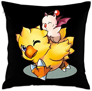 Final Fantasy Mog and Chocobo 16''x 16'' Square Throw Pillow Inserts with Pillow Covers Cushions for Couch Bedroom Car